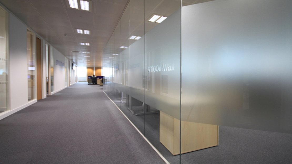 frosted glass office partition