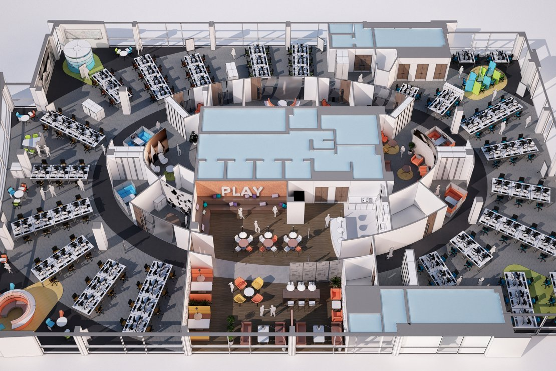 Birdseye View Office Plan