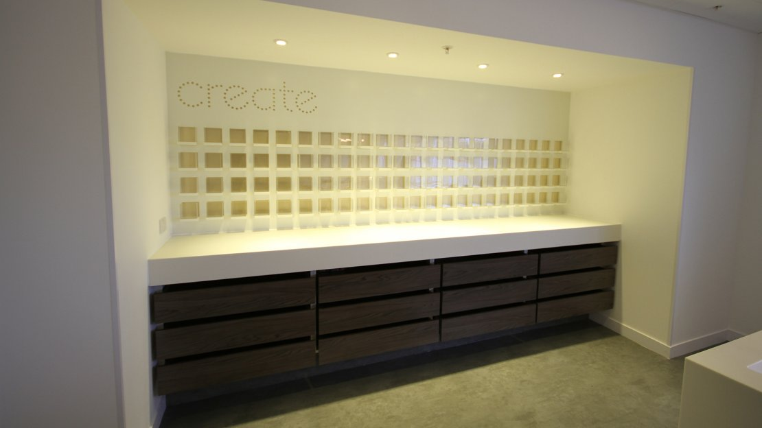 Bespoke storage in office