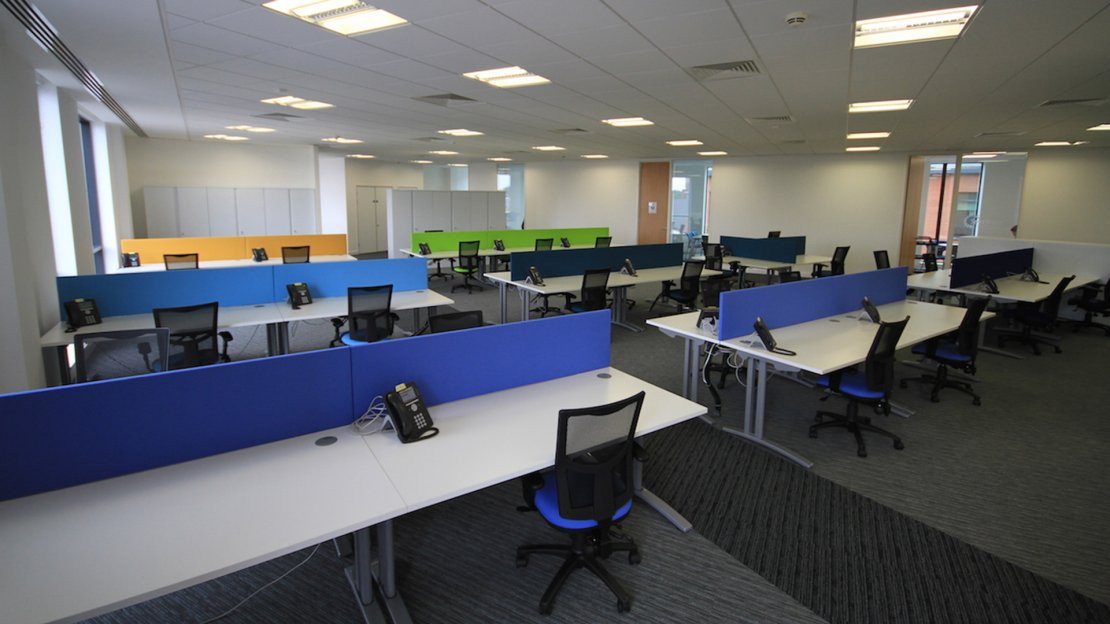 Colour coded office desk areas