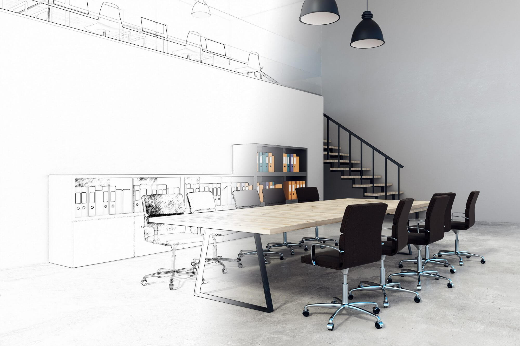 modern corporate black and wooden office interior planning