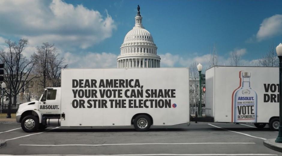 Absolut vodka, US election 2020 advert.