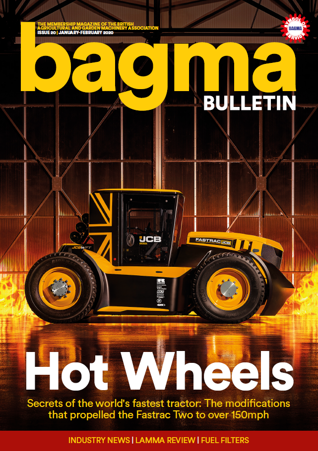 BAGMA Bulletin Magazine January/February 2020. British Agricultural and Garden Machinery Association Magazine.