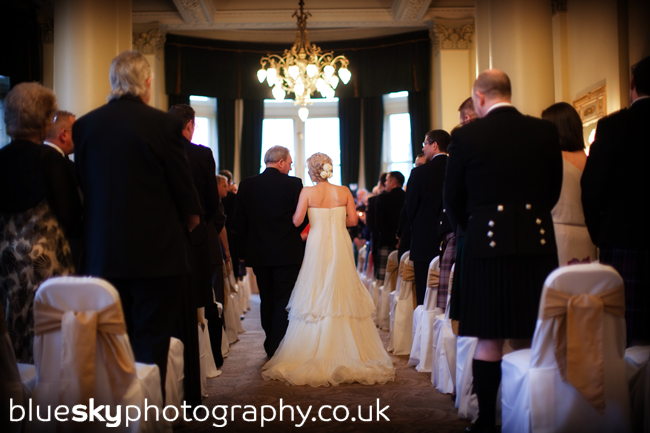 Wendy and her Dad walking down the aisle at The Balmoral Hotel