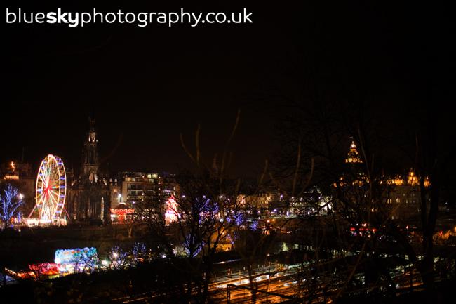 Christmas skyline in Edinburgh
