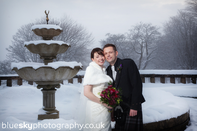 Joanne & Brian in the snow at Gleneagles
