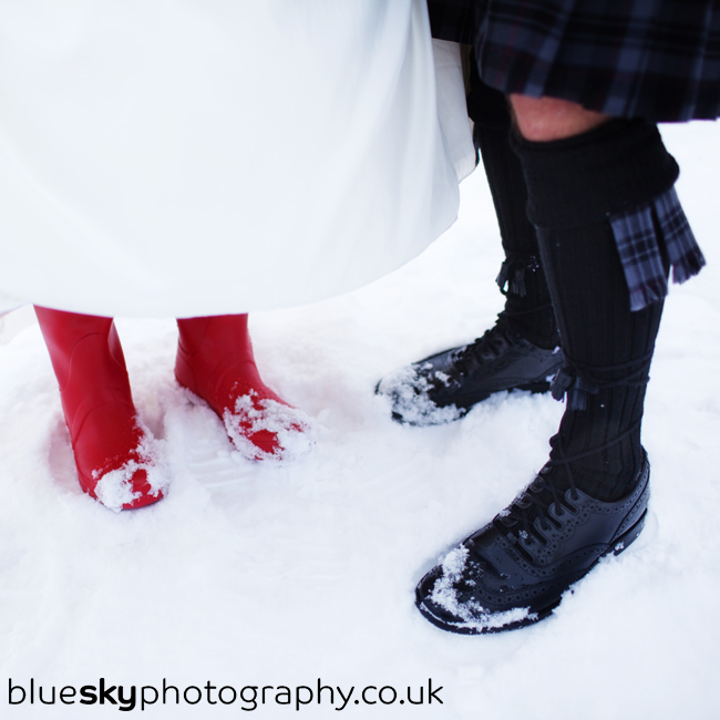 Joanne & Brian in the snow at Gleneagles Hotel