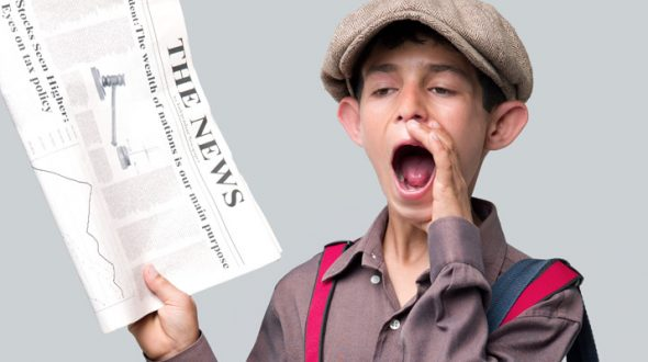 Newspaper boy shouting headlines