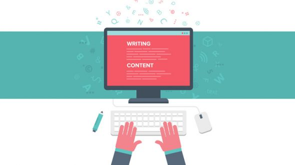 Illustration showing web content writing on a computer