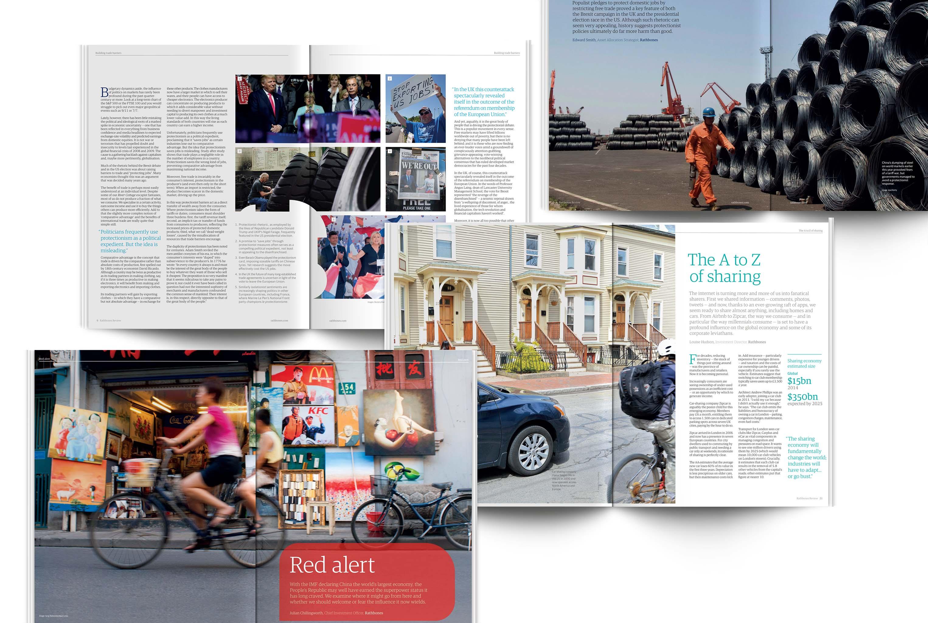 Rathbones Review magazine spreads
