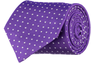 Cad & The Dandy Silk Purple and White Spotted Tie
