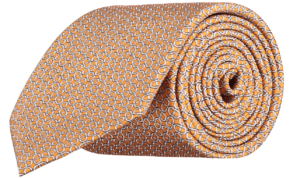 geometric-patterned-silk-tie-cantaloupe