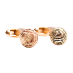 cufflink-gold-textured-ball-front