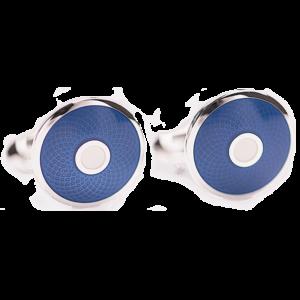 cufflink-blue-white-guilloche-front