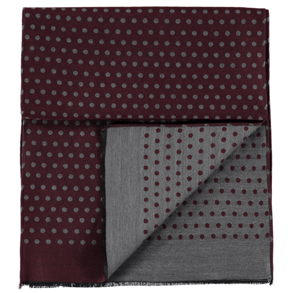 wool-scarf-spotted-grey-burgundy-detail