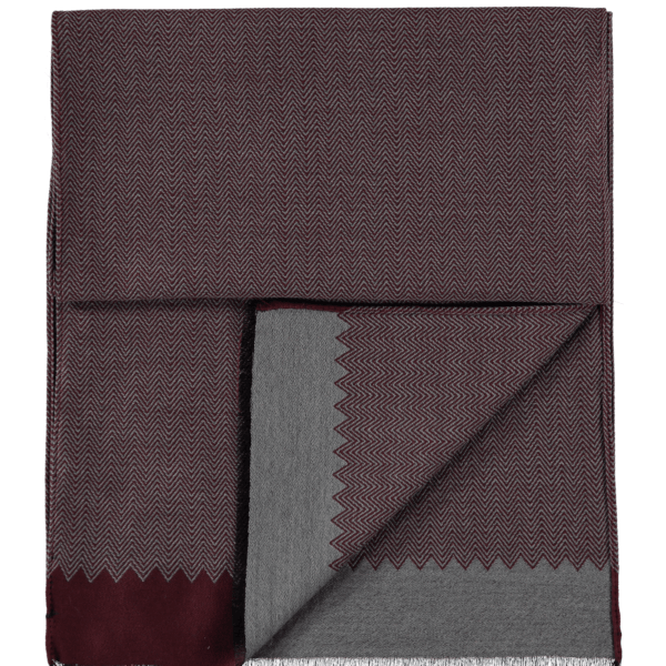 wool-scarf-herringbone-grey-burgundy-detail