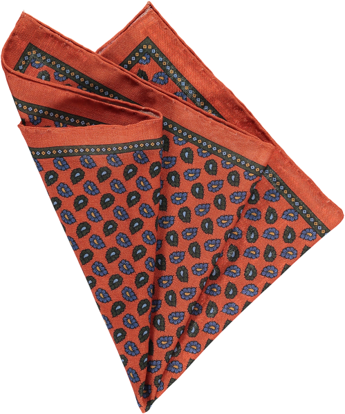 rust-floral-pocket-square