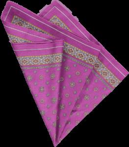 cotton pocket square in purple foulard