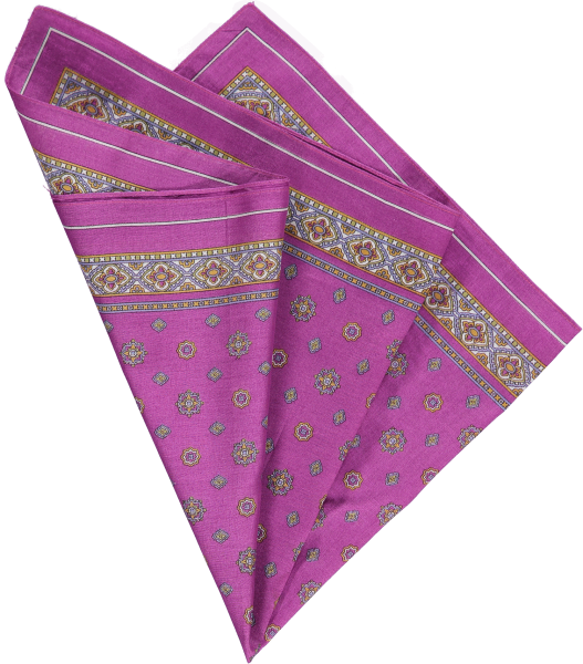 cotton pocket square in purple foulard