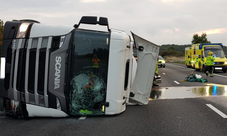 Pics: 10-mile stretch of motorway closed after milk tanker crash