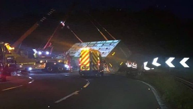 Lorry carrying 190 pigs overturns overnight