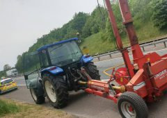 Police pull tractor driver for motorway mishap on M1