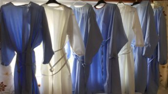 Agricultural college bedsheets transformed into gowns for NHS frontline