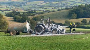 Farmer says 'we need our local fire station' after his tractor goes up in flames