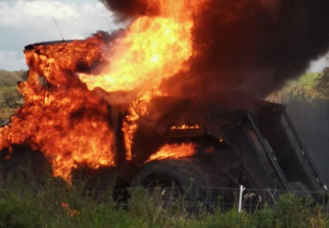Tractor destroyed by fire in Devon
