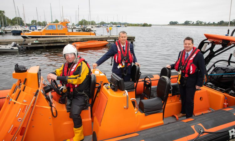 Minister Poots visits Lough Neagh Rescue Service