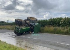 Tractor and slurry tanker overturns in Cornwall road accident