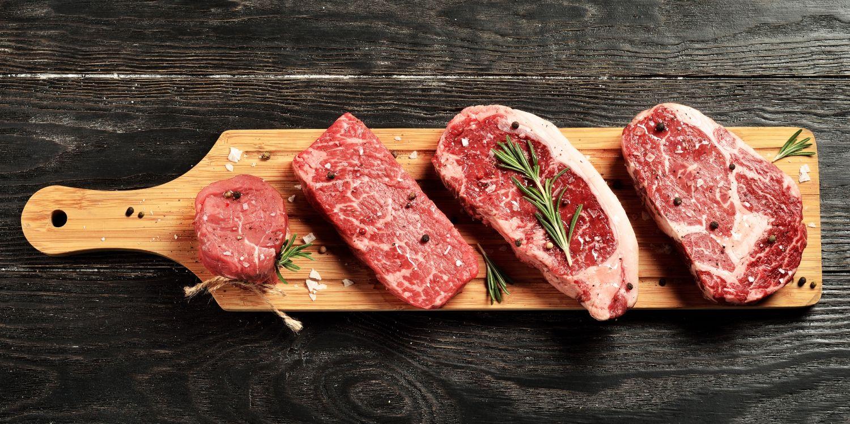 Beef cuts chopping board