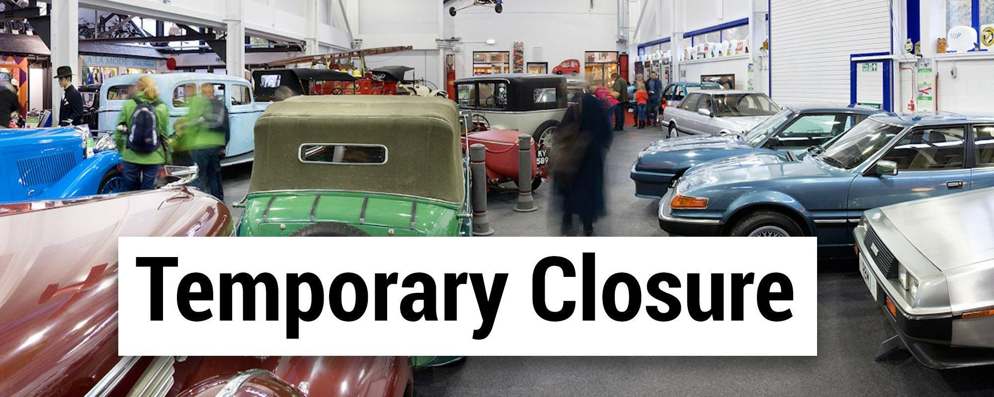 Image of museum with temporary closure on the graphic