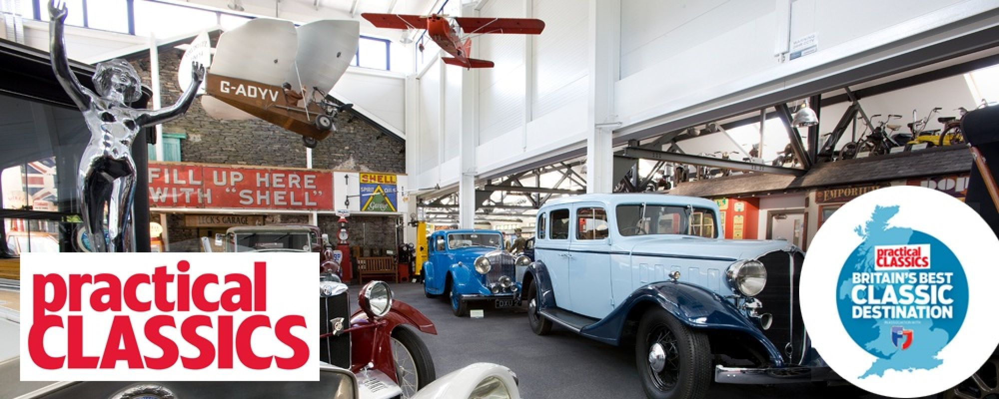 Museum picture and Practical Classic Magazine logo