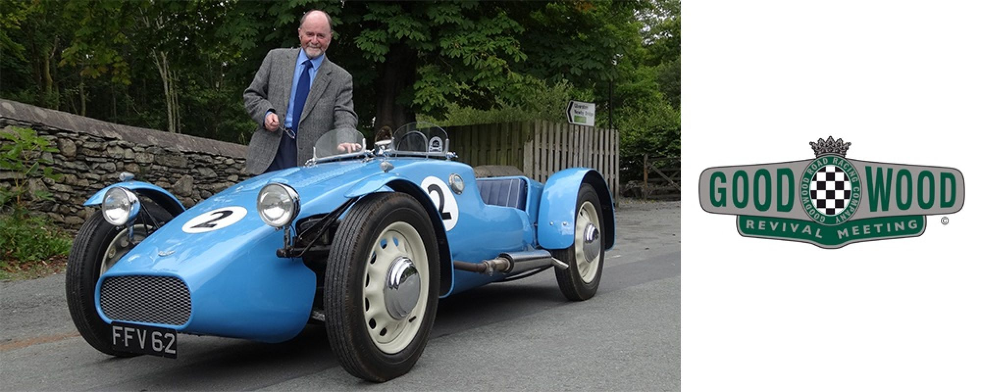 Bill bewley, Director of the Lakeland Motor Museum next t o the TVR Number 2