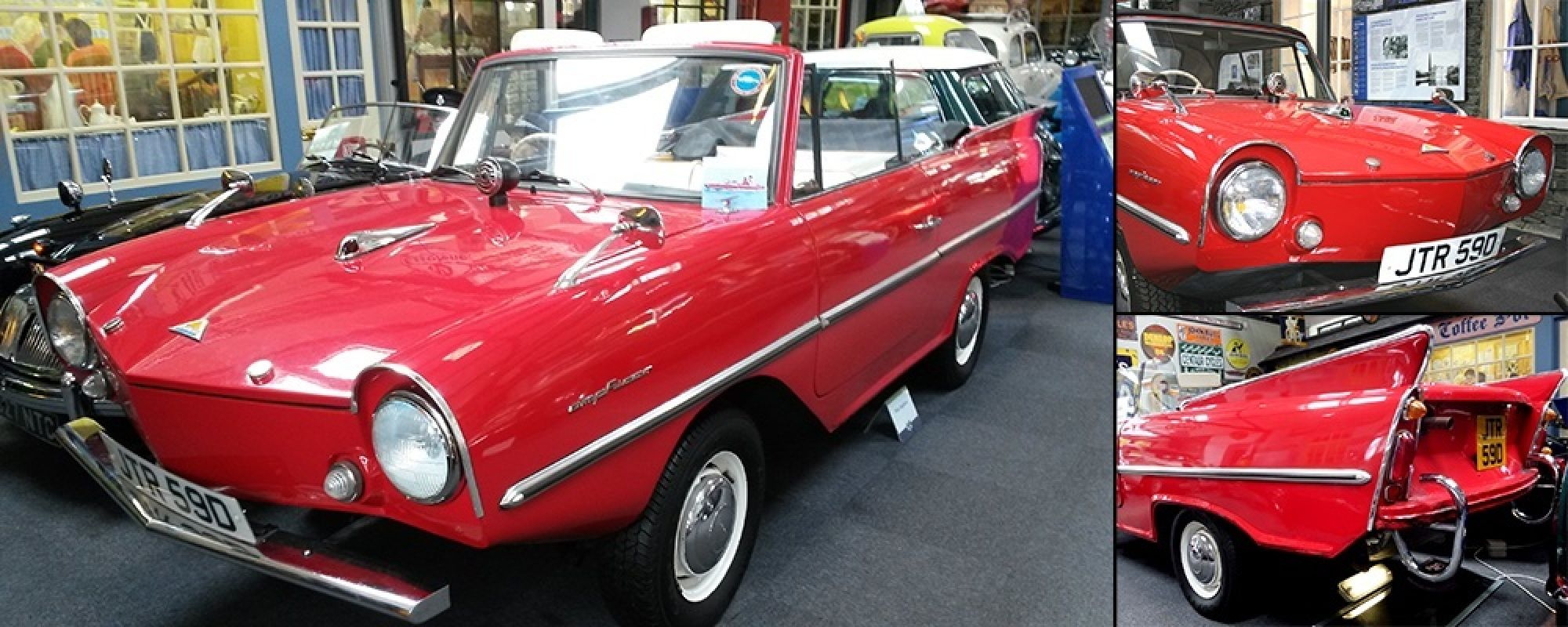 A front, rear and side photo of the Amphicar inside Lakeland Motor Museum.