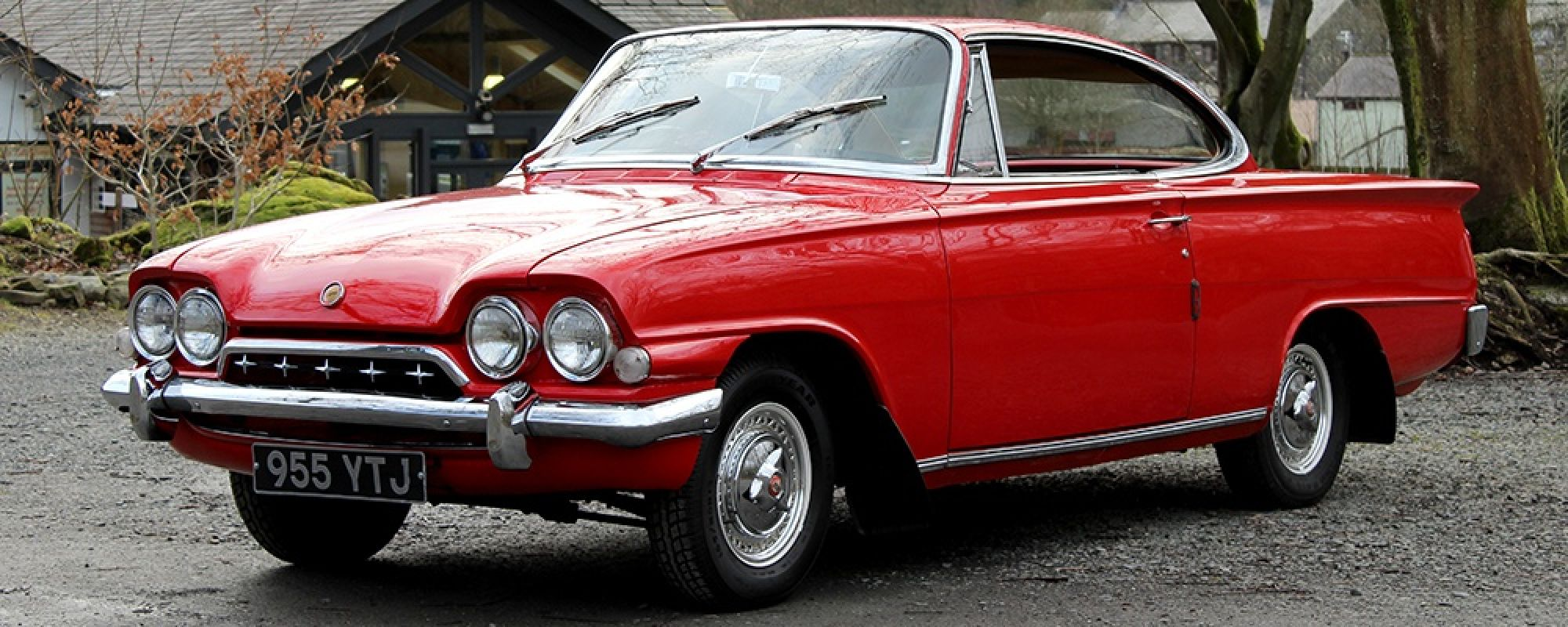 Ford Consul Capri in glorious red outside the museum