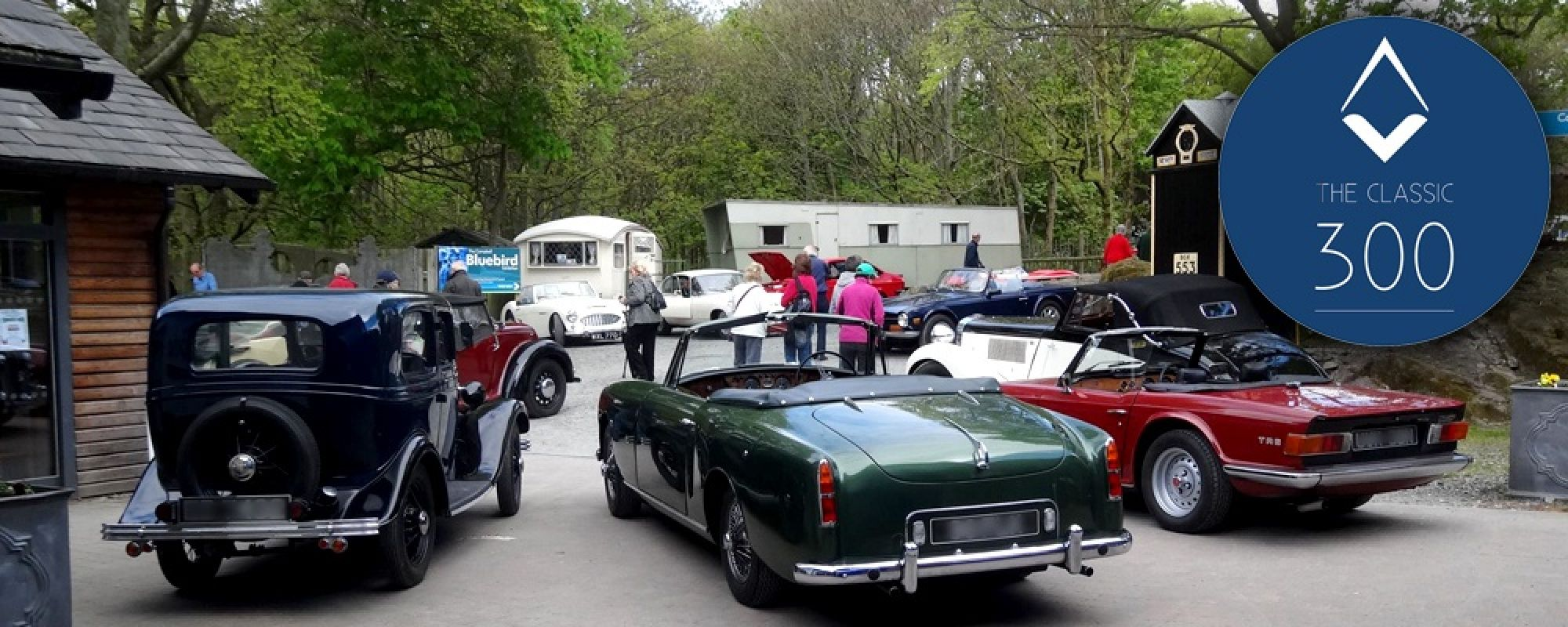 Classic cars on display outside the museum