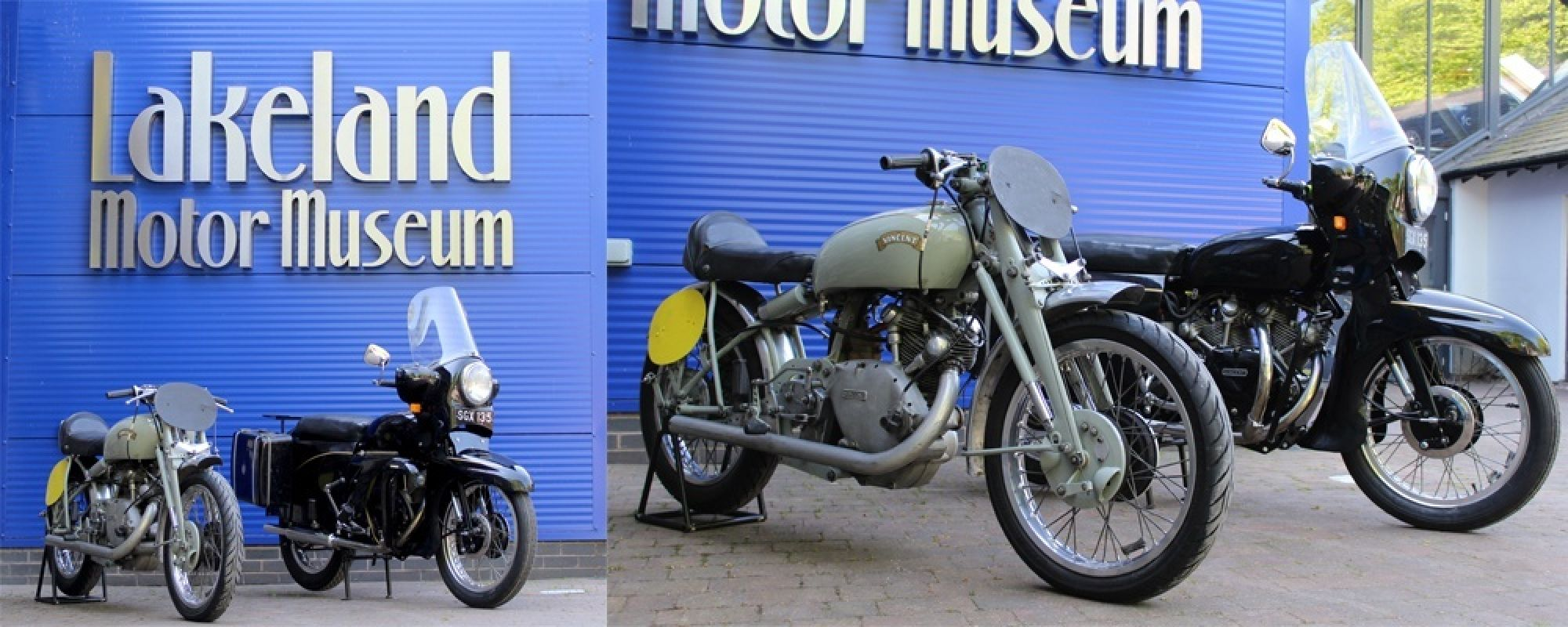 The two new Vincent motorcycles outside the museum