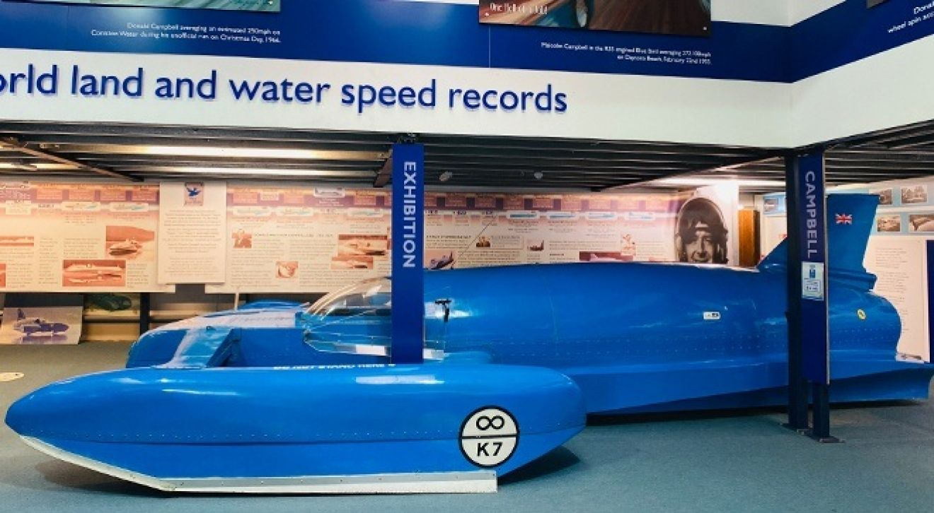 Our replica of the K7 hydroplane on display at the museum