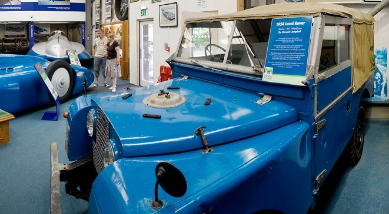 Doanld Campbell's Land Rover 1 in Bluebird Blue in the speed kings Campbell exhibition