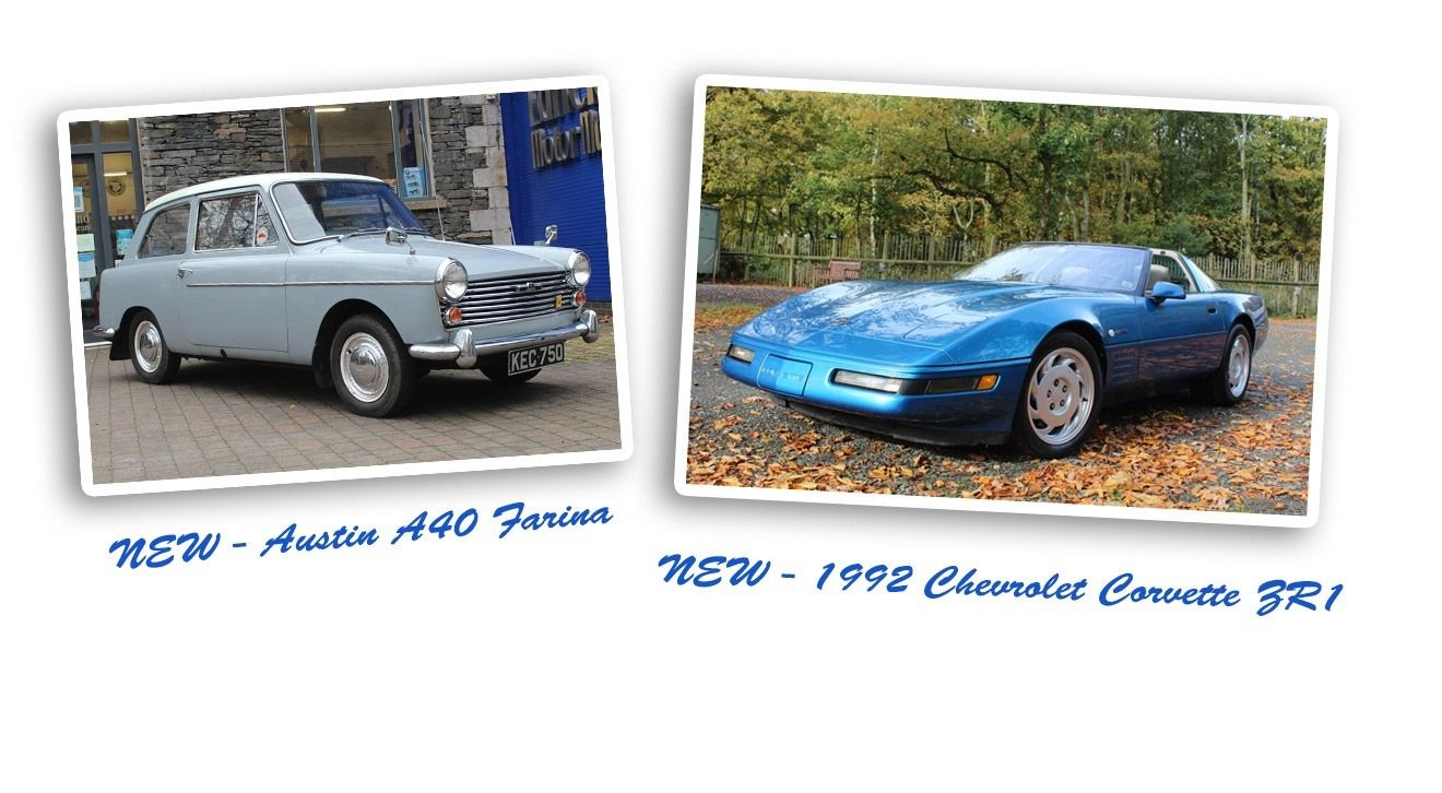 Two new vehicles on display - Austin A40 Farina and Corvette ZR1