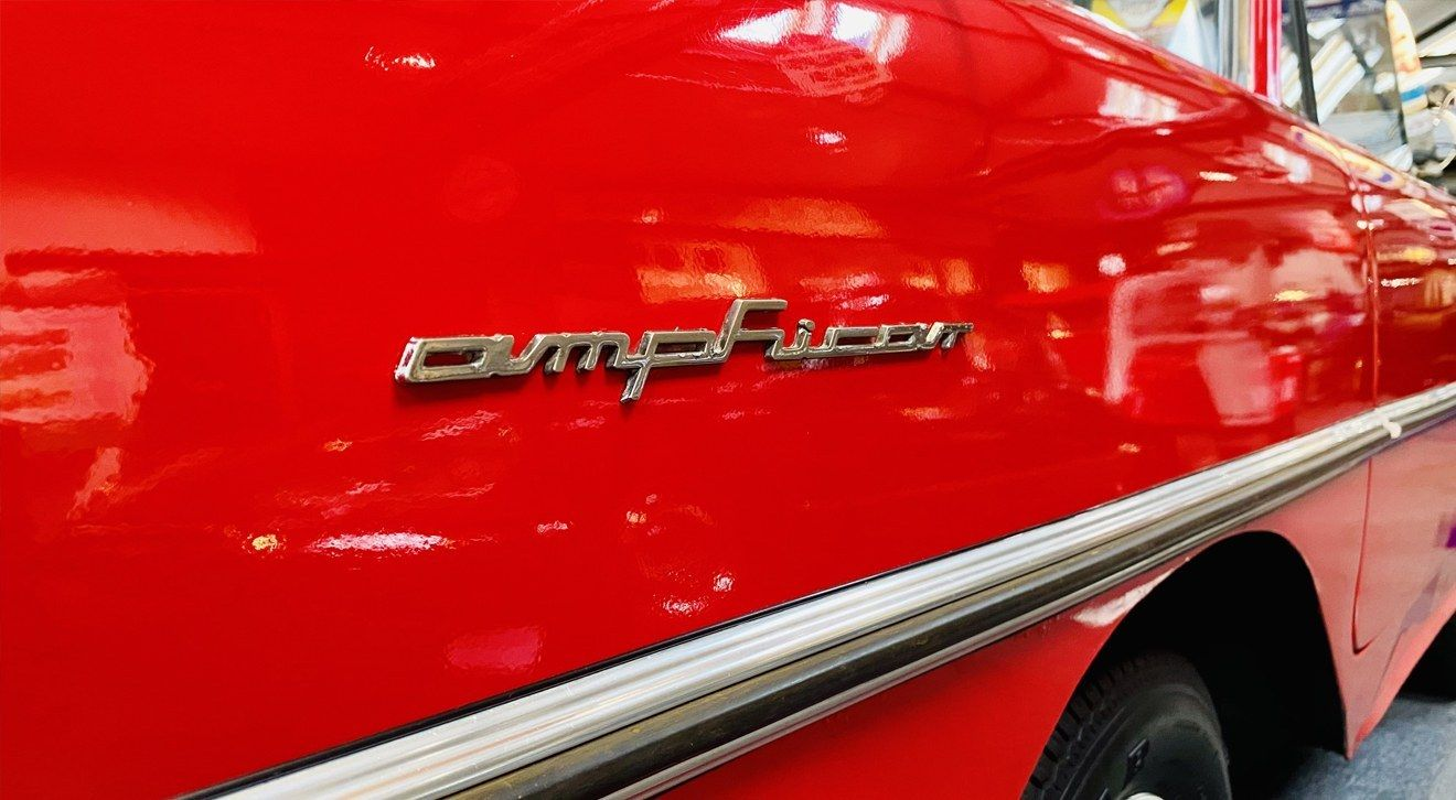 A close-up of the Amphicar on disply