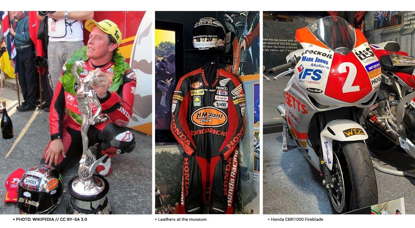 3 photos: (1) John McGuinness / (2) Leathers at the museum / (3) Honda CBR1000 Fireblade