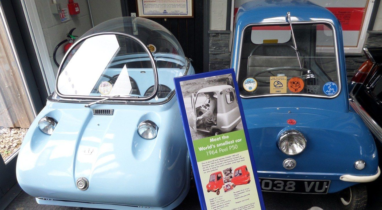 Our Peel P50 in situ within the museum
