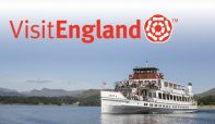 Steamer Swan on Lake Windermere with the Visit England logo