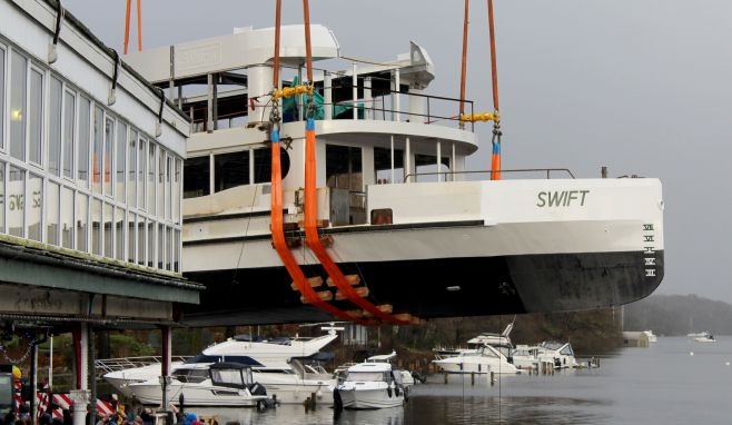 MV Swift launched onto Windermere