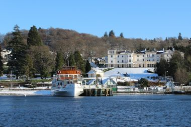Snowy Bowness Pier & Laura Ashley The Belsfield Hotel