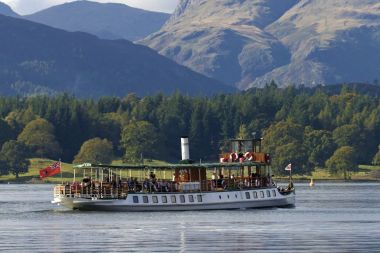 MV Tern with the Langdale Pikes behind