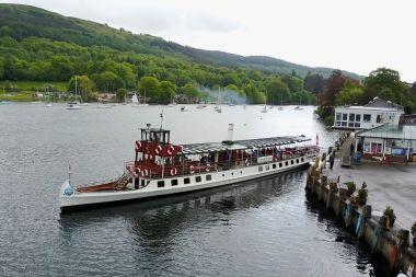 MV Swan departing from Lakeside Pier